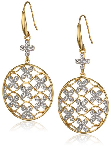 18k Yellow Gold Plated Sterling Silver Two Tone Openwork Butterfly Disc Dangle (Two Tone Openwork)