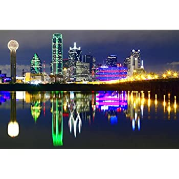 Downtown Dallas Texas Skyline Reflections Photo Art Print Cool Huge Large Giant Poster Art 54x36