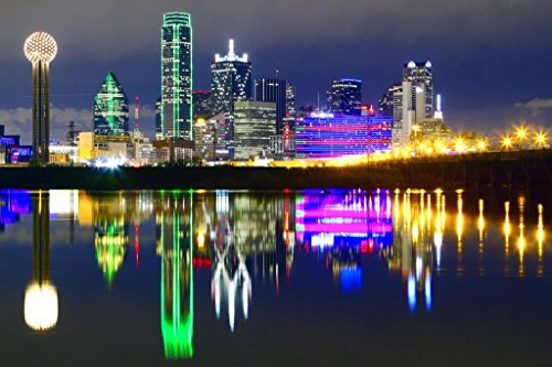 - Downtown Dallas Texas Skyline Reflections Photo Art Print Mural Giant Poster 54x36 inch