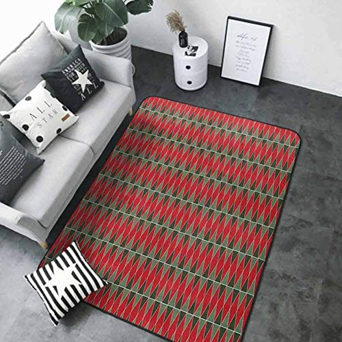 Office Chair Floor Mat Foot Pad GeometricChristmas Inspirations in Geometric Rectangles Vivid Palette Hunter and Almond Green Red 63 x 48 in Bath Rugs / Office Chair Floor Mat Foot Pad GeometricChristmas Inspirations in Geometric R...