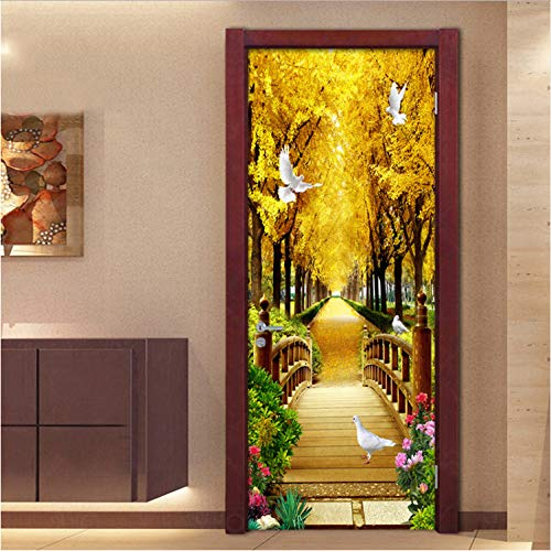200 Cm LMYWSX Autocollant De Porte Creative Gold Forest 3D Autocollants De Porte Imperm/éable D/étachable DIY Stickers Muraux PVC Porte Mural Chambre Salon D/écoration De La Maison 90