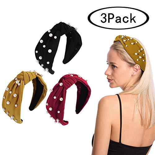 (Vintage Twisted Faux Pearl Tie Beading Women Wide Hair Hoop Velvet Headband Headwear Hairband Cute Girls Summer Hair Accessories Boho Headbands)