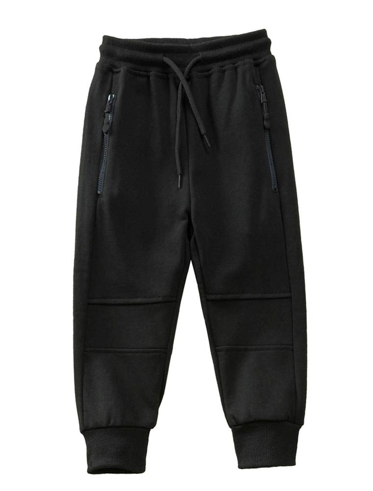 Mallimoda Boy's Knit Cotton Sweatpants Casual Sport Drawstring Waist Trousers Style 3 Black 11-12 Years