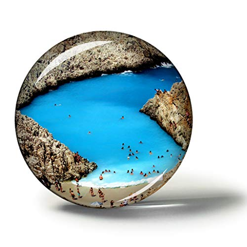 Hqiyaols Souvenir Greece Seitan Limania Beach Crete Fridge Magnet Refrigerator Magnets Souvenir Collectibles Travel Gift Circle Crystal 1.9 inches