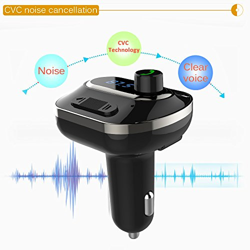 FM Transmitter, Bcway Wireless Radio Adapter Bluetooth Car Kit MP3 Player, 5V/3.1A Dual USB Ports Car Charger, Support TF Card + U Disk, Hands Free Calling for iPhone, Samsung, etc by AYY (Image #5)