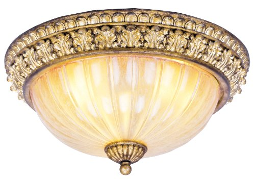 Livex Lighting 8819-65 Flush Mount with Hand Crafted Gold Dusted Shades, Vintage Gold (Gold Belle Lighting)