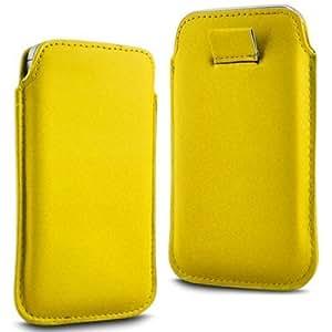 N4U Online - Alcatel Pop C3 Prima Soft PU Caso ficha de extracción Funda de cuero Flip - Amarillo
