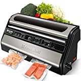 Automatic Vacuum Sealer Machine, Food Sealers Vacuum Packing Machine, ETL Listed Commercial Grade Vacuum Sealer with Memory Function, Built-in Cutter, Starter Kit, Stainless Steel Housing
