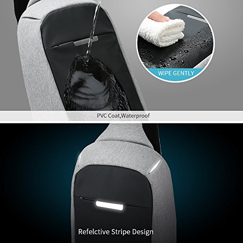Oscaurt Anti-theft Sling Bag Travel Shoulder Backpack Crossbody Chest Bags Daypack for Hiking Walking Men & Women (12.5, Dark Grey)