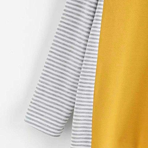 Coton Femme Chemise Automne Shirts Epissage Blouse T Femme T Chic Longues Femme Shirts Shirts Manches T T Pull Shirts T lgant Tops MVPKK en Rayure Col Sexy Femme Rond Jaune Hiver Shirts Femme fAtTwwqc8