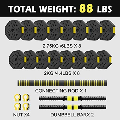 KAC Adjustable Dumbbells Barbell 2 in 1 with Connector, Adjustable Dumbbell Barbell Sets Total 88lbs,Lifting Dumbells for Body Workout Home Gym (2021 Upgrade)