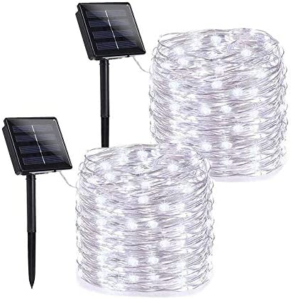 Joomer Solar String Lights Outdoor, 2 Pack 78.74ft 240 LED Solar Fairy Lights Waterproof, Solar Silver Wire Twinkle Lights 8 Modes, Solar Christmas Lights Decorative for Garden Tree Party White