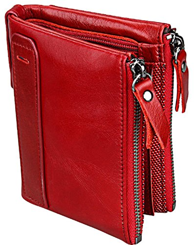 GMJF Wallet Small Vintage Crazy Horse Leather Short Purse Bifold for men and women (Red) ()