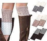 JALIYO Women Leg Warmer Double Sided Knit Boot Socks Topper Boot Cuffs Crochet 3 Pairs
