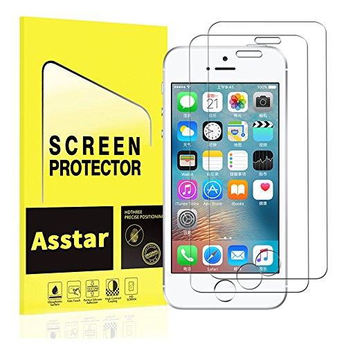 [2 Pack] iPhone 5 Screen Protector, Premium Tempered Glass Screen Protector Anti-Scratch 9H Hardness 2.5D Tempered Glass Bubble-Free Screen Protectors for iPhone SE / 5S / 5C / 5
