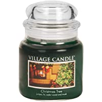 Village Candle Christmas Tree Medium Glass Apothecary Jar Scented Candle, (16oz), Green