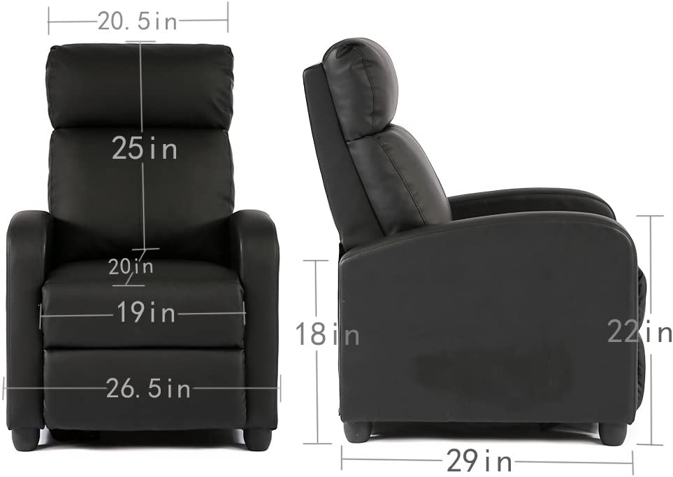 BestMassage Modern Leather Recliner Chair dimensions