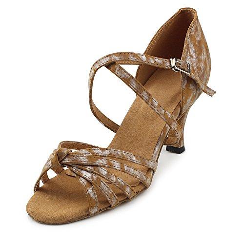 - MSMAX Womens Fashion Ballroom Latin Salsa Dance Dress Shoes,3 inches Heel Brown Size 8