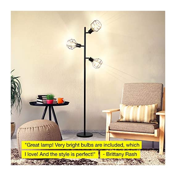 Brightech Robin - Industrial Tree Floor Lamp with 3 Cage Heads & Vintage Edison Bulbs - Rustic, Farmhouse Pole Light for… - INDUSTRIAL, FREE STANDING LAMP MATCHES MANY DECORS - Match your rustic or farmhouse living room with this vintage factory / warehouse looking upright lamp. The Brightech Robin mixes a bit of steampunk design with modern clean lines and minimalism - no bulky generic shades here! COMPLIMENT GETTING, TREE POLE LAMP WITH 3 BRIGHT HEADS: Enjoy the admiration of guests! The three lights, reminiscent of a tree's branches, reach outward up to 11 inches, and measures 5 inches at their widest. They attach to the poll at 61, 54, and 47 inches from the floor, so you can use one or two for reading or all three for room lighting. The flexible, adjustable swivel joints let you point light right where you need. EASY TO BUILD, WARM ACCENT LIGHT FEATURES HEAVY BASE SO IT WON'T EASILY TIP AND IS KID & PET SAFE: Assemble the lamp in just a few minutes, even if you're not handy. Once this stand up light is built, enjoy the soft room lighting that create ambience without blinding. The heavy base also gives the lamp stability so it is unlikely to tip, making it safe around children and pets. Also, the LED bulbs don't get hot, avoiding accidental burns if you touch the light. - living-room-decor, living-room, floor-lamps - 51JVDWnzoYL. SS570  -