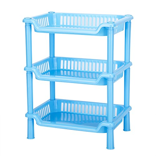Storage Shelves,Crystalbabey Plastic Basket Square 3 Layers Floor Stand Rack Shelf Shower Organizer Kitchen Storage Bathroom Shelves for Home Household Kitchen (Blue)
