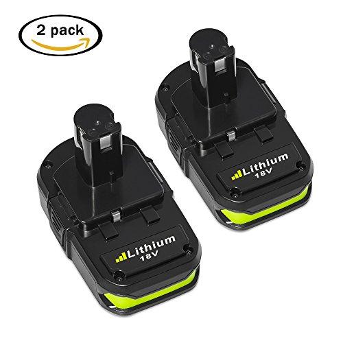 LiBatter 2 Packs 18V 2500mAh Lithium Tools Battery Pack Replacement for Ryobi P104 P105 P102 P103 P107 P108