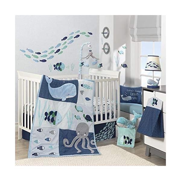 Lambs & Ivy Oceania 6-Piece Baby Crib Bedding Set – Blue Ocean, Nautical, Aquatic, Whale, Octopus Theme