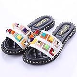 Meolin Women Flat-bottomed Slipper Flat Sandals Roman Shoes Beach Sandals,White,9