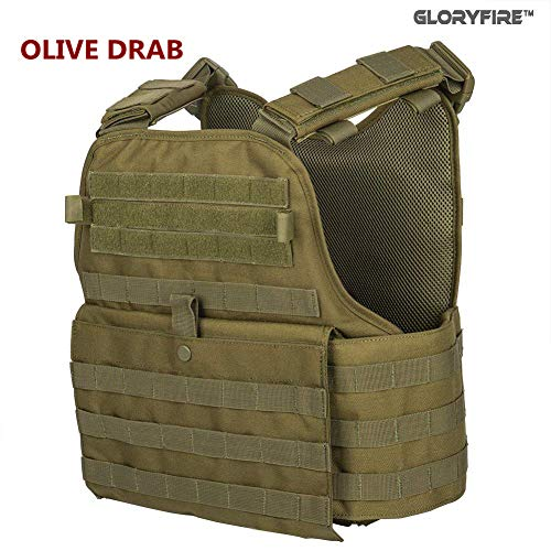 GFIRE Tactical Vest Modular Vest Breathable Combat Training Vest Adjustable Lightweight (Green1) (Best Bullet Proof Armour)