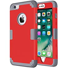 iPhone SE Case,iPhone 5S Case,Jwest Dual Layer Hybrid Case 3-Piece Design Style Shockproof Protective Shell Soft Hard Cover for Apple iPhone SE 5 5S - Red/Grey