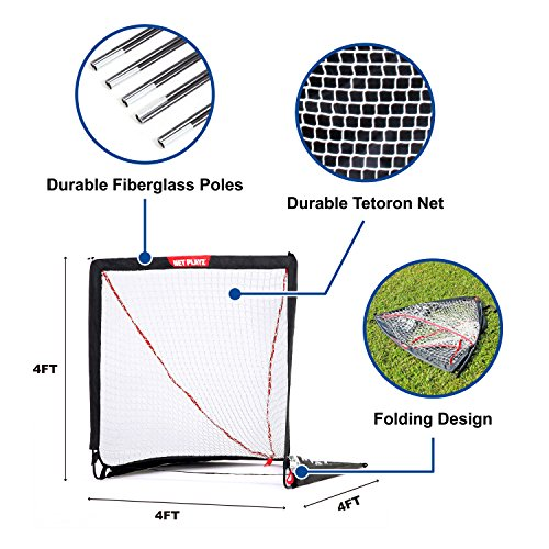 NET PLAYZ 4 x 4 x 4 Feet Lacrosse Goal Fast Install, Fiberglass Frme, Lightweight, Foldable, Portable, Carry bag Included by NET PLAYZ (Image #2)