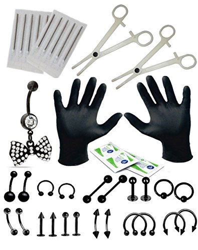 Piercing Kit (Body Piercing Kit 36 Pieces Belly Rings Black Bow Tongue Tragus Ear Eyebrow Nipple Lip Nose)