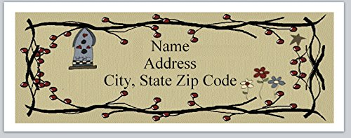 (150 Personalized Return Address Labels Primitive Country Birdhouse pip Berries (p 24))