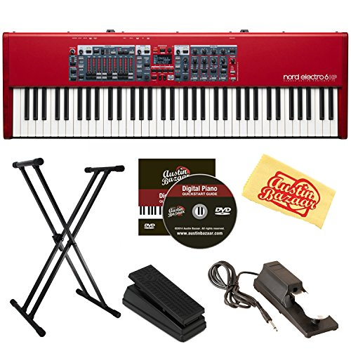 Nord Electro 6 HP 73-Note Hammer Action Stage Piano Bundle with Adjustable Stand, Expression Pedal, Sustain Pedal, Austin Bazaar Instructional DVD, and Polishing Cloth