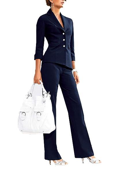 Amazon.com: Traje de mujer de un solo botón, con chaqueta ...