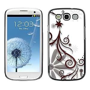 TopCaseStore / la caja del caucho duro de la cubierta de protección de la piel - Design Floral White - Samsung Galaxy S3 I9300