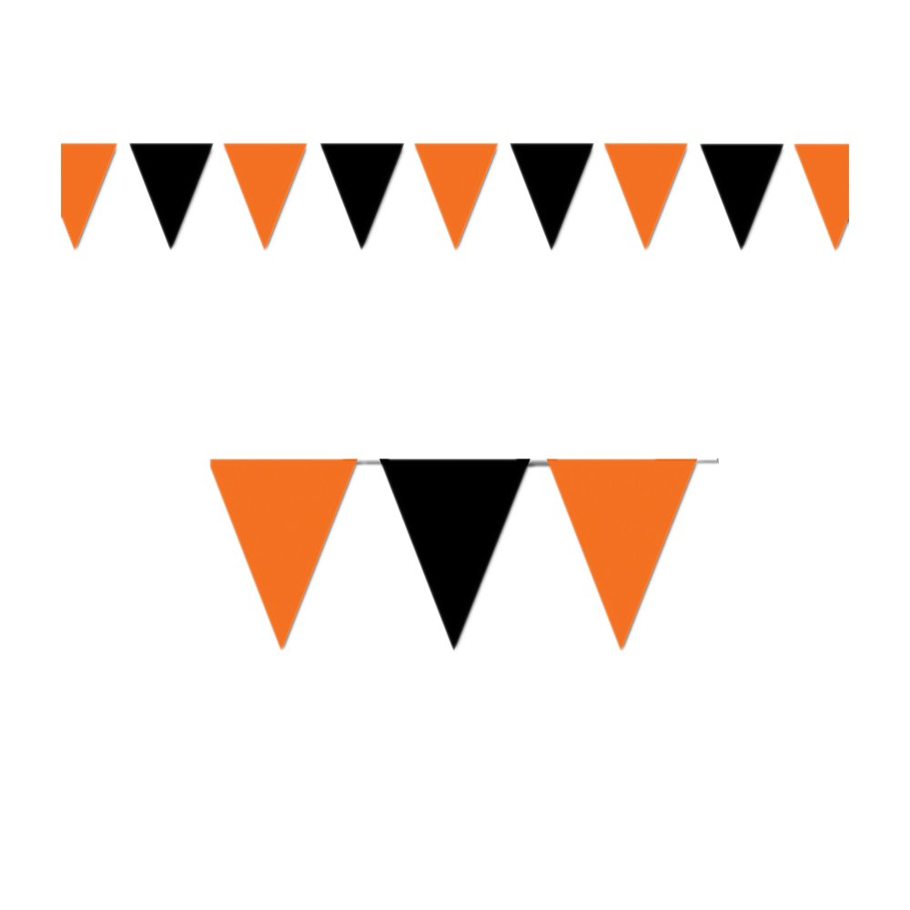 Beistle Party Decoration Orange & Black Outdoor Pennant Banner 17'' x 30'- Pack of 12