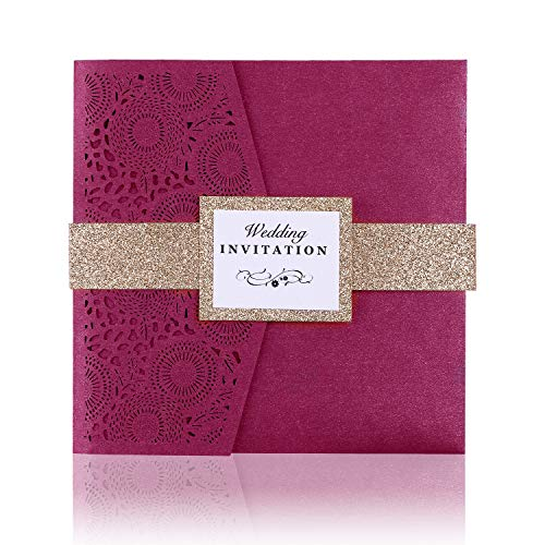 PONATIA 20 PCS Laser Cut 3 Folds Square Wedding Invitations Cards with Belt for Wedding Birthday Engagement Greeting Invitations Cards Use+ Free Envelopes+ Free RSVP Cards (Wine Red)