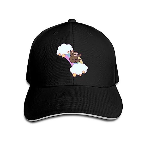 Style Sandwich Bill Cap Rainbow Cloud Sloth Cutesy Kawaii Cartoon Visor Hats -