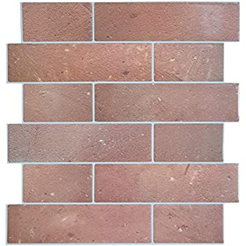 Crystiles 12 Quot X12 Quot Vinyl Peel And Stick Backsplash Tile Matte Finish Red Brick Quot Pro Quot Series Thicker Version 1 Sheet Sample Amazon Com