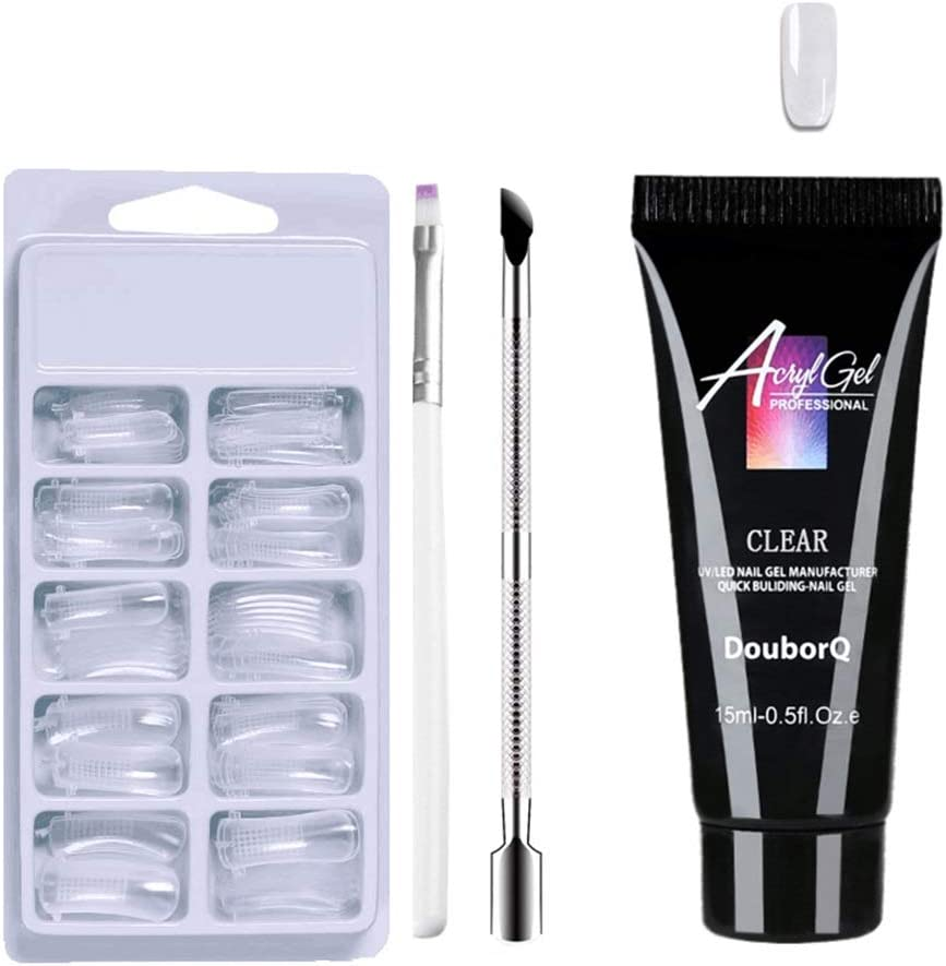 Anself Kit de Gel de Uñas UV LED Gel de Uñas Set Kit de Gel de Extensión de Uñas Poly Gel Clear False Puntas de Uñas Pluma de Gel de Empujador de Uñas de Doble