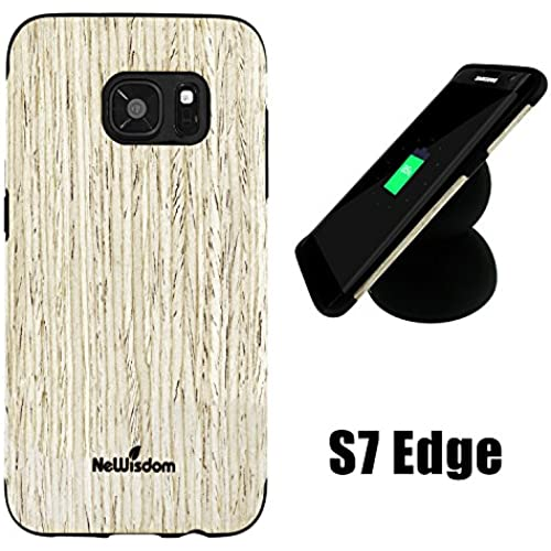 Galaxy S7 Edge Wood Case, NeWisdom Special Designed Rubberized Wood Hybrid Case for Samsung galaxy s 7 edge [No need to be removed while wireless Sales