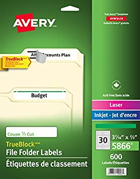 Avery Filing Labels With TrueBlock Technology For Laser And Inkjet Printers 2 3quot