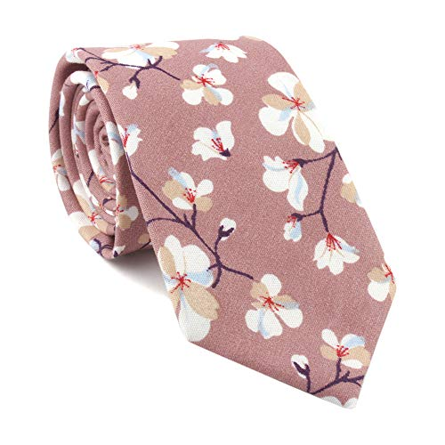 Brown Pink Seft Novelty Ties Woven Narrow Party Cool Italy Vintage Best Necktie for Men ()