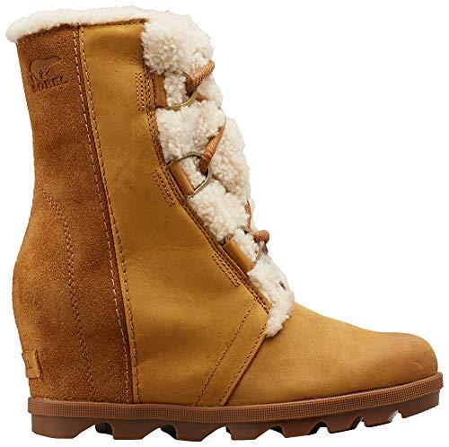 Sorel - Women's Joan of Arctic Wedge II Shearling Winter Boot, Camel Brown, 8 M US (Fur Boots Wedge Womens)