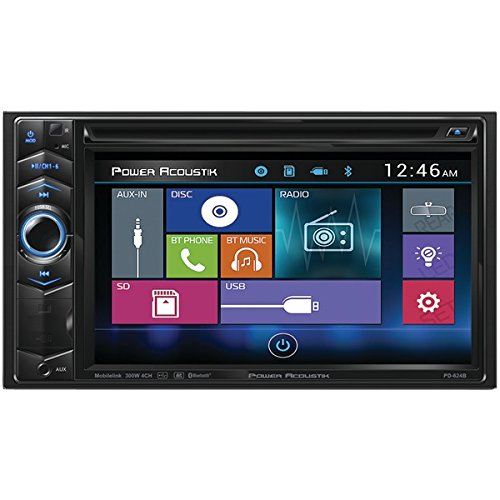 POWER ACOUSTIK PD-624B 6.2'' Double-DIN In-Dash LCD Touchscreen DVD Receiver with Bluetooth(R)