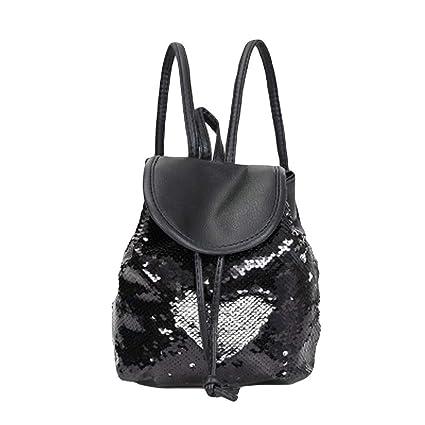 fd2fb1719332 Cinhent Backpacks Women Soft Fashion School Style Sequins Travel Satchel Bag  (Black)