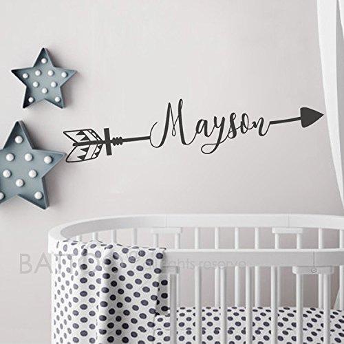BATTOO Arrow Name Wall Decal - Name Decal Boho Nursery Decor Boys Name Decal Kids Room Decor Personalized Name Rustic Crib Decal