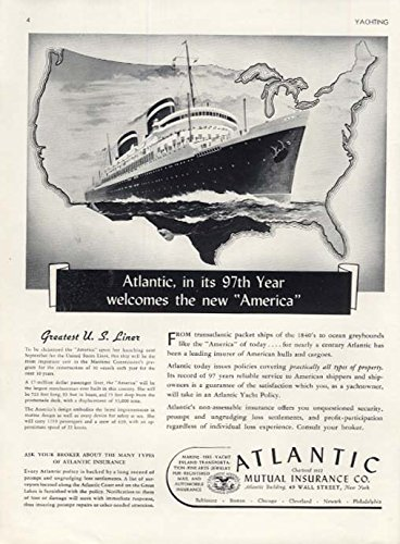 Atlantic Mutual Insurance Welcomes United States Lines S S America Ad 1939 Y