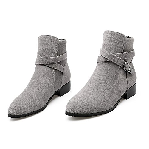 AllhqFashion Womens Frosted Buckle Round Closed Toe Low-Heels Low-Top Boots Gray ZYhsE