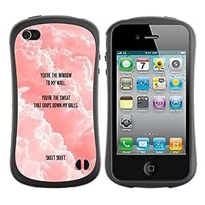 Suave TPU GEL Carcasa Funda Silicona Blando Estuche Caso de protección (para) Apple Iphone 4 / 4S / CECELL Phone case / / Clouds Quote Cute Love Funny /
